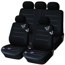 Universal 9 PCS Car Seat Covers Butterfly Car-styling HQ Polyester Fabric Embroidery Headrest Full Set Interior Accessories