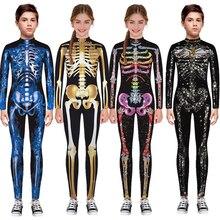 Esqueleto crianças assustador traje menino zumbi diabo halloween cosplay menina macacão zumbi carnaval festa assustador dia dos mortos