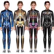 Skelet Kinderen Scary Kostuum Jongen Zombie Duivel Halloween Cosplay Meisje Jumpsuit Zombie Carnaval Party Spooky Fancy Dag Van De Dode