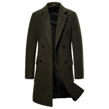 Autumn and Winter New Foreign Trade Men's Double-breasted Coat Coat Trench Coat