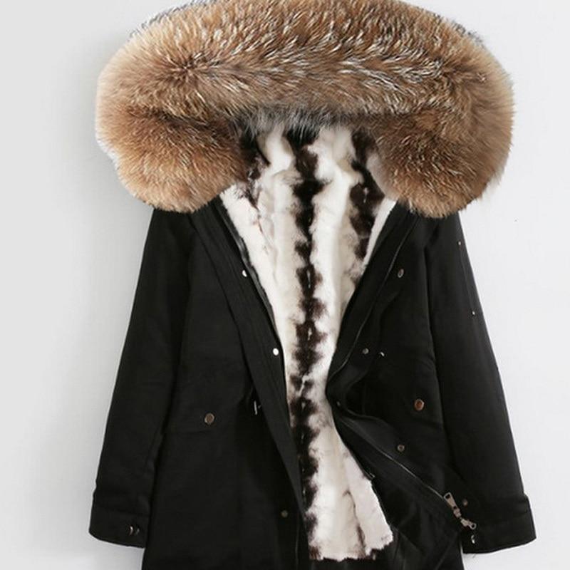 Natural Mink Fur Coat Winter Thick Warm Casual Jacket Men Real Raccoon Fur Collar Hooded Parka Plus Size 4XL ZL371
