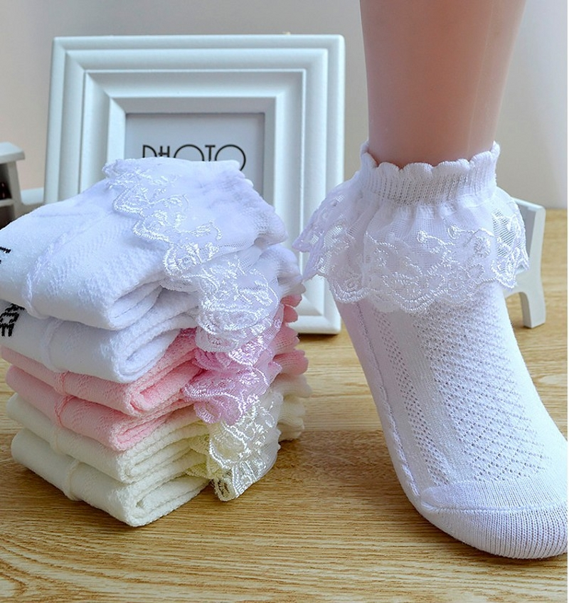 Hot Sale Spring Summer Girls Socks Cotton Mesh Lace Children Socks 1-12 Years Kids Socks For Girls 4 Pairs /Lot