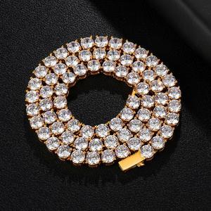 Image 4 - HIP HOP 3/4/5/6MM Bling glacé cuivre Zircon Tennis chaîne breloque longue chaîne à maillons collier pour hommes bijoux