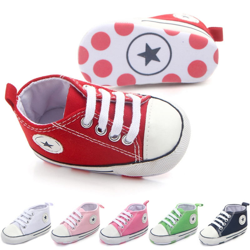 2020 Newborn First Walkers Crib Shoe White Soft Anti-Slip Sole Unisex Toddler Casual Canvas Baby Infant Boy Girl Shoes L