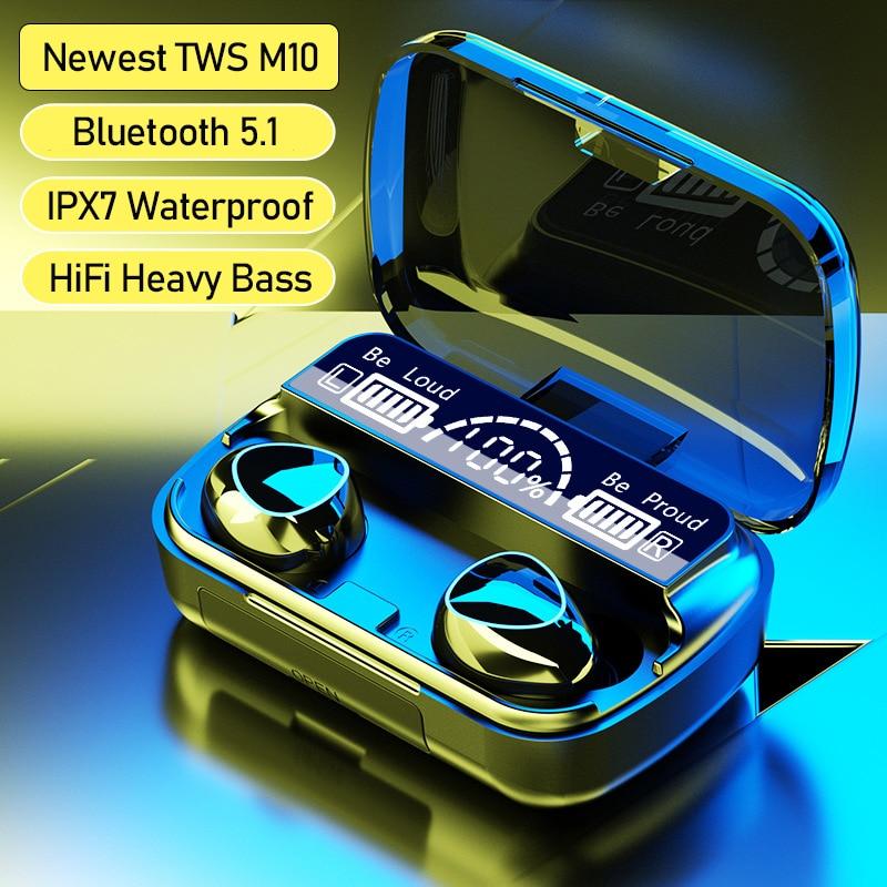 Наушники-вкладыши TWS Bluetooth 5,1 аудио наушники Наушники Hi-Fi Setero Беспроводной наушники 2200 мАч зарядным устройством Водонепроницаемая гарнитура...