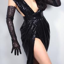Feminino sexy brilhante lantejoulas preto luva feminino clube festa dança longa luva r1865