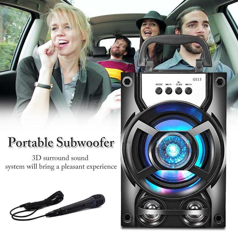 Subwoofer estéreo portátil alto-falante sem fio bluetooth sistema de som de alta qualidade, suporte usb tf cartão aux com microfone
