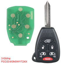 Car Key Replacement 315Mhz 6 Buttons Car Key Remote Uncut Ignition Transponder Keyless Fob Combo M3N5WY72XX Fit for Dodge free shipping new replacement 2 button remote headed keylessentry ignition car fob uncut for nissan 1piece