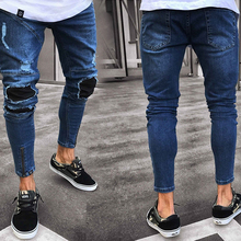 Mens Fashion Distressed Ripped Jeans Moto Black Denim Slim Fit Trousers New Men Solid Color Hole SkinnyJeans
