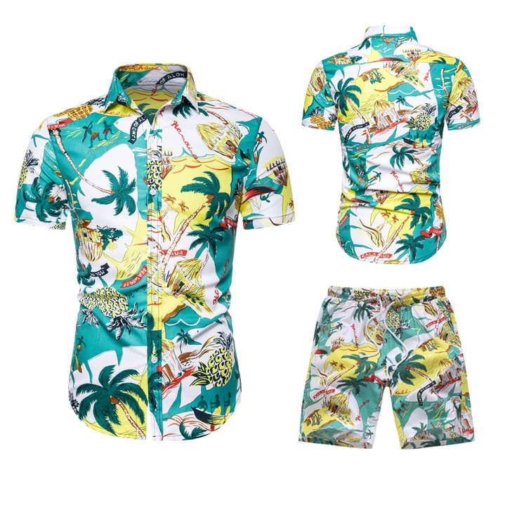 2019  AliExpress Summer New Products Youth Men Fashion Casual Hawaii Set