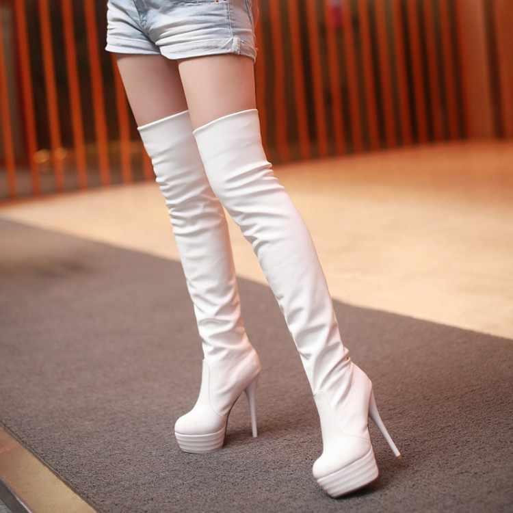 Buty damskie PU Sexy Over The Knee długie buty Sexy cienki wysoki obcas buty platformy kobiet buty Zapatos De Mujer Botas 2020 najnowszy
