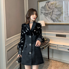 New Embroidered Velvet Black Dress 2019 Patchwork Clothes  Empire Lantern Sleeve Knee-Length Full Women