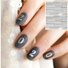WG 143 142 english letter black colorful letters 3d nail art stickers decal template diy nail tool decorations