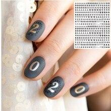 WG 143 142 İngilizce mektup siyah renkli harfler 3d tırnak sanat çıkartmalar çıkartma şablonu diy tırnak aracı süslemeleri