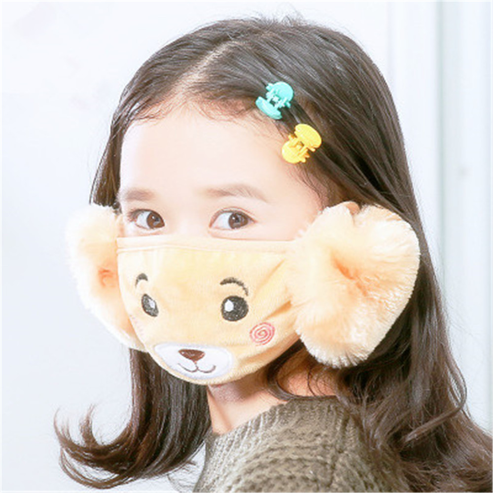 New Cute Bear Child Ear Muffs Mouth Mask Windproof Anti Dust Winter Children Anti Haze Flu Cottonmouth-Muffle Keep Warm