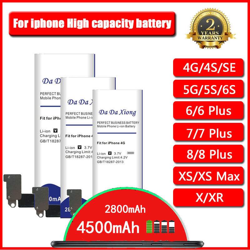 <font><b>High</b></font> <font><b>Capacity</b></font> <font><b>Battery</b></font> for <font><b>iPhone</b></font> X XS XR SE 4 4S 5 5S 5C 6 <font><b>6S</b></font> 7 7S 8 8S for <font><b>iphone</b></font> <font><b>6S</b></font> plus/7 Plus/8 Plus / XS MAX image