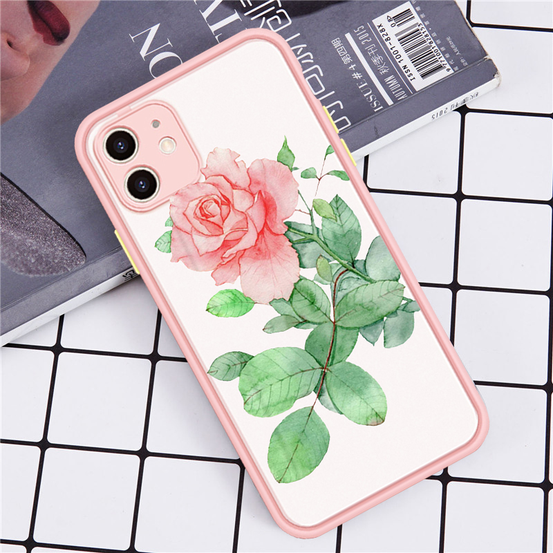 Fashion Rose Flowers Bee Phone Case For iPhone 12 XS MAX 11 Pro SE 2020 7 XR X 8 6 Plus Shockproof Matte Silicone Cover Fundas