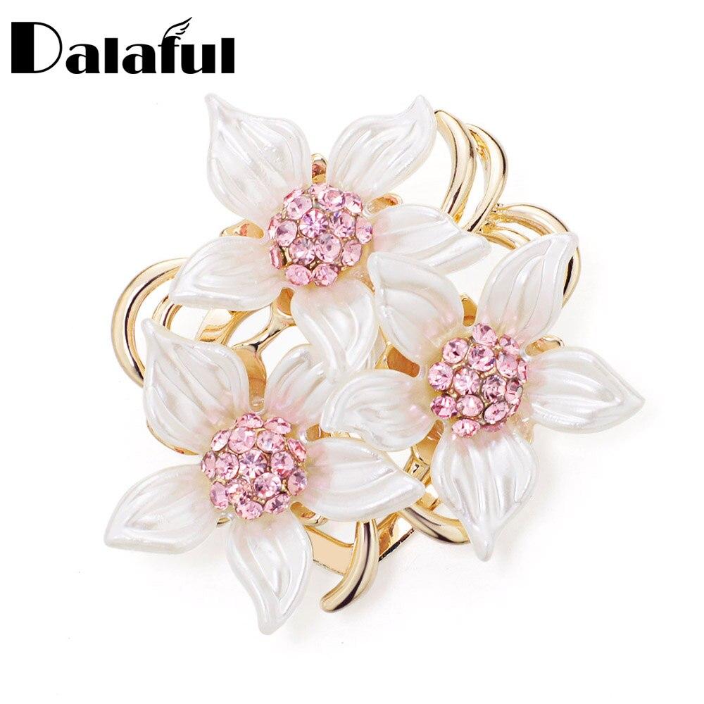 Dalaful Elegante Kamelie Brosche Pins Moderne Rosa Strass Erstaunliche Blätter Broschen Braut Schmuck Für Frauen Mädchen Z071