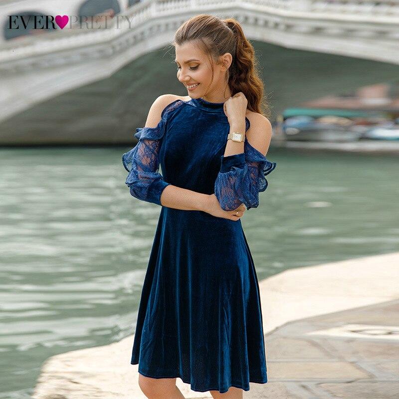 Sexy Short Evening Dresses Ever Pretty AS05896 Halter A-Line Long Lace Sleeve Velour Evening Gowns Abiye Gece Elbisesi 2019