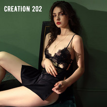 Creation 202 Women's Sexy Nightdress Sexy Transparent Jacquard Lace Housewear Seductive Sexy Pajamas