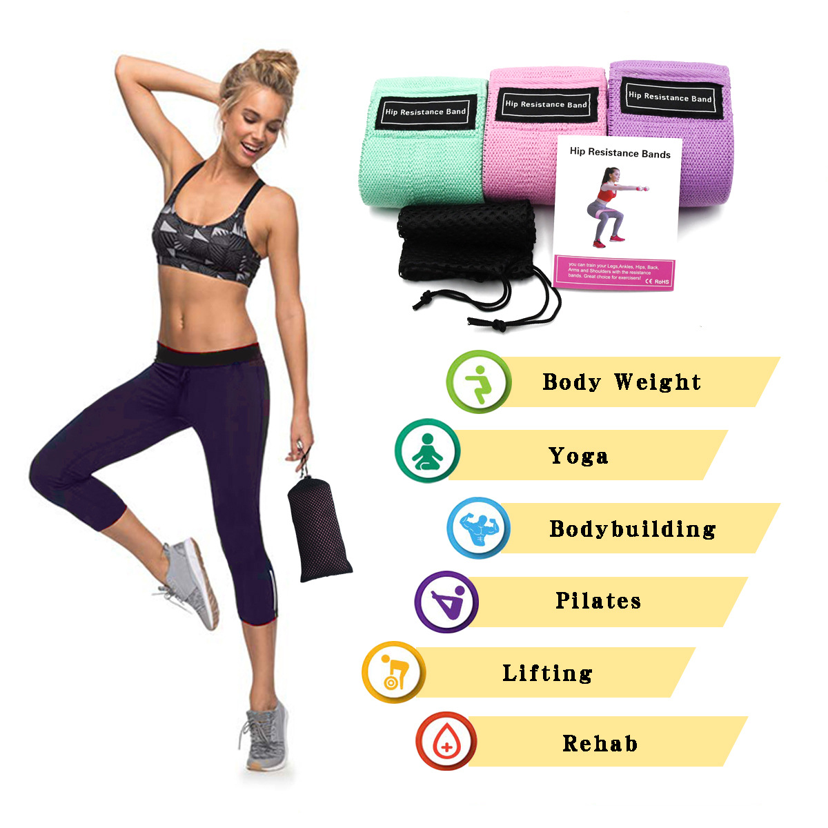 Gym Resistance Bands Workout Hip Circle Booty Loop Glute Leg Squat Fitness UK