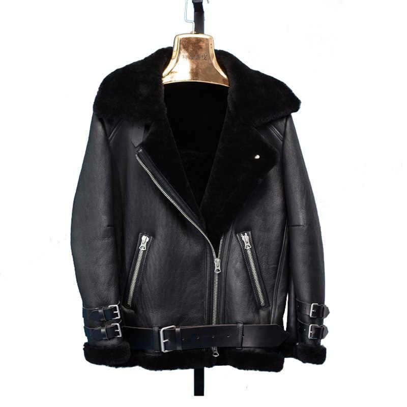 Rf0228 Женская куртка из овчины из натуральной кожи, модная байкерская куртка из натуральной овчины