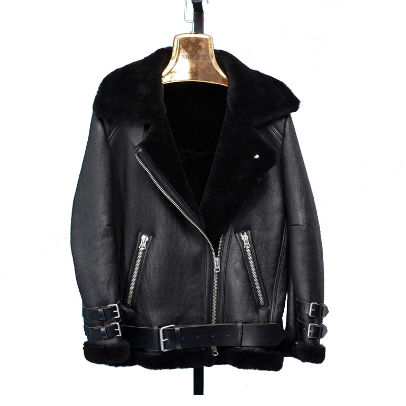 Ladies Women/'s Real Leather shearling fur Aviator Biker Style jacket ALL SIZES