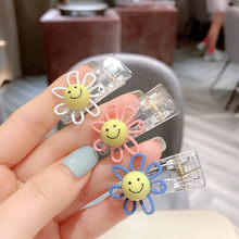 Korea Style Sun Flower Smiley Face Color Small Hair Clips for Girl Children Fashion Cute Hair Accessories Wholesale(China)