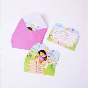Image 5 - Vaisselle jetable sur le thème Dora lexploratrice, 107 pièces, serviettes, assiettes, gobelets, nappes, gobelets en papier, fête prénatale