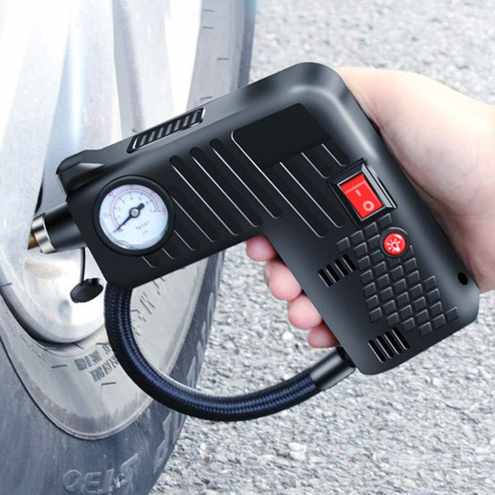 Portable Air Inflator Compressor Pump Tire LED 12V Safety Tyre Hammer Compressor Cordless For Motorcycle Electric Auto Car Bike