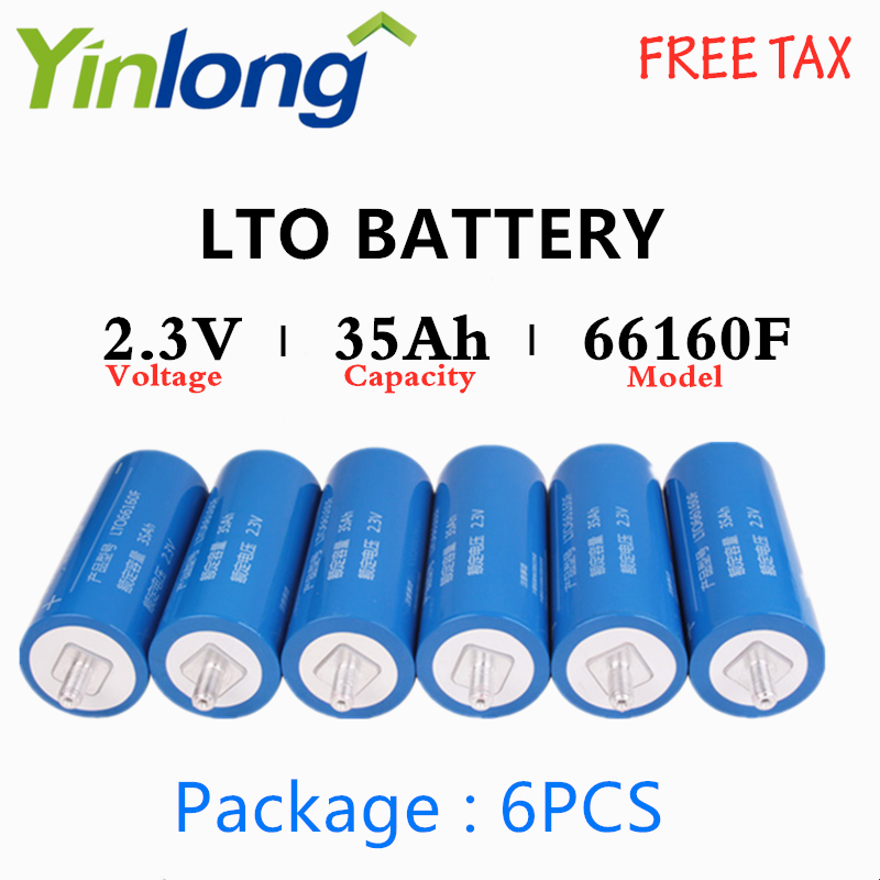LTO Battery 6PCS Rechargeable <font><b>66160</b></font> 2.3V 35Ah Cylindrical Lithium Titanium Oxide Battery For Electric Vehicles Traffic Signals image