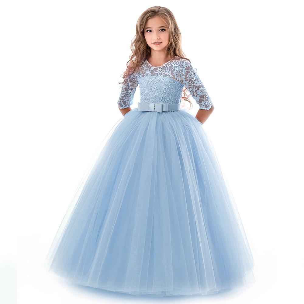 New Princess Lace Dress Kids Flower Embroidery Dress For Girls Vintage Children Dresses For Wedding Party Formal Ball Gown 14T 5