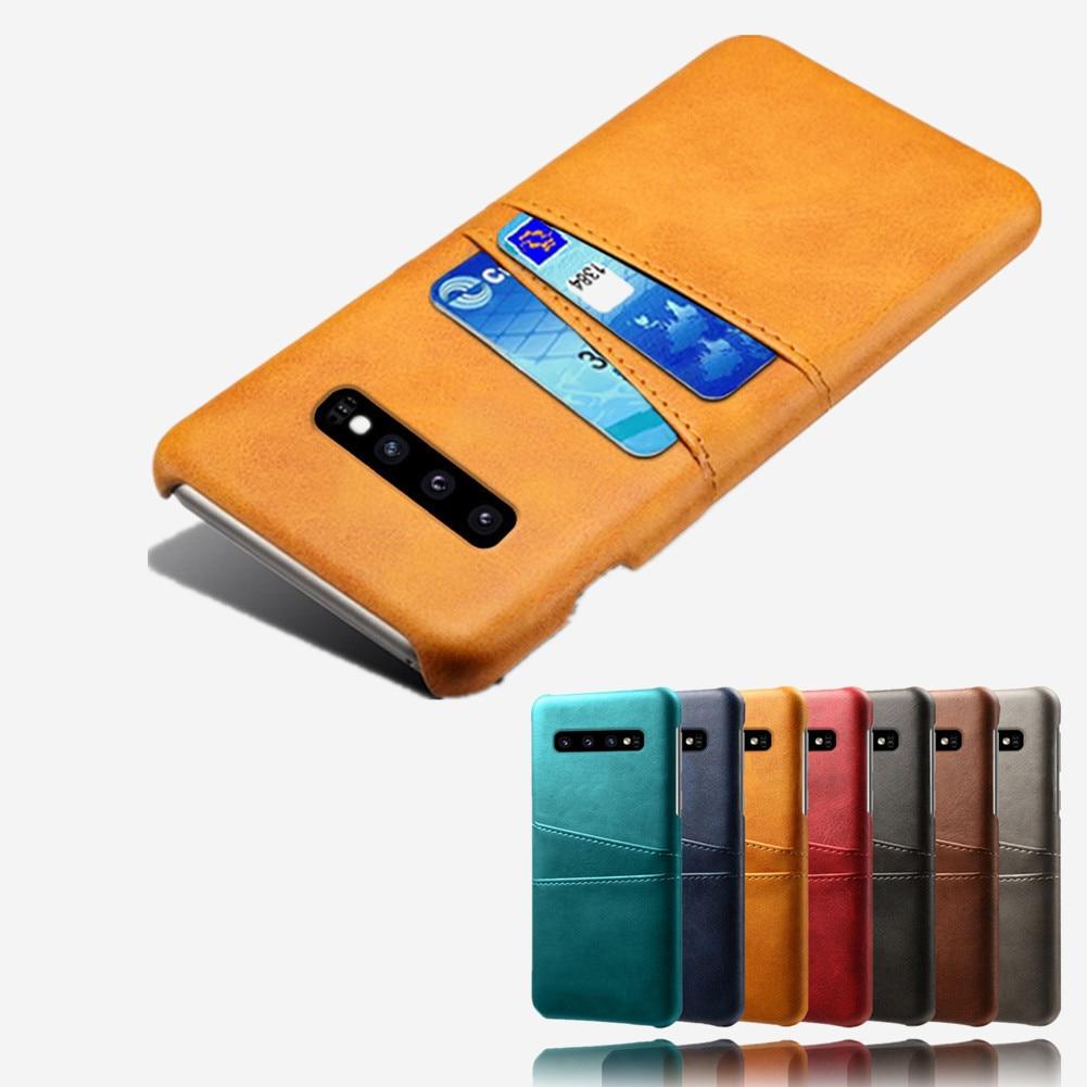 Para Samsung Galaxy S10 Plus S9 Note 9 A6 A8 2018 A7 A9 A3 A5 A7 2017 J3 J5 J7 2016, Fundas con ranuras para tarjetas, Fundas de piel sintética + PC
