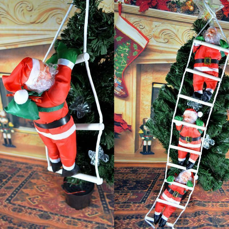 Cute Christmas Decorations Santa Claus Climbing Stairs On Rope Ladder Xmas Trees Hanging Ornaments Home Decor For Christmas Gift