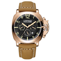 Automatic Self Wind Mechanical Genuine Brown Leather Strap Multifunction Date Month Yellow Green Luminous Rose Gold Men Watch|Mechanical Watches|   -