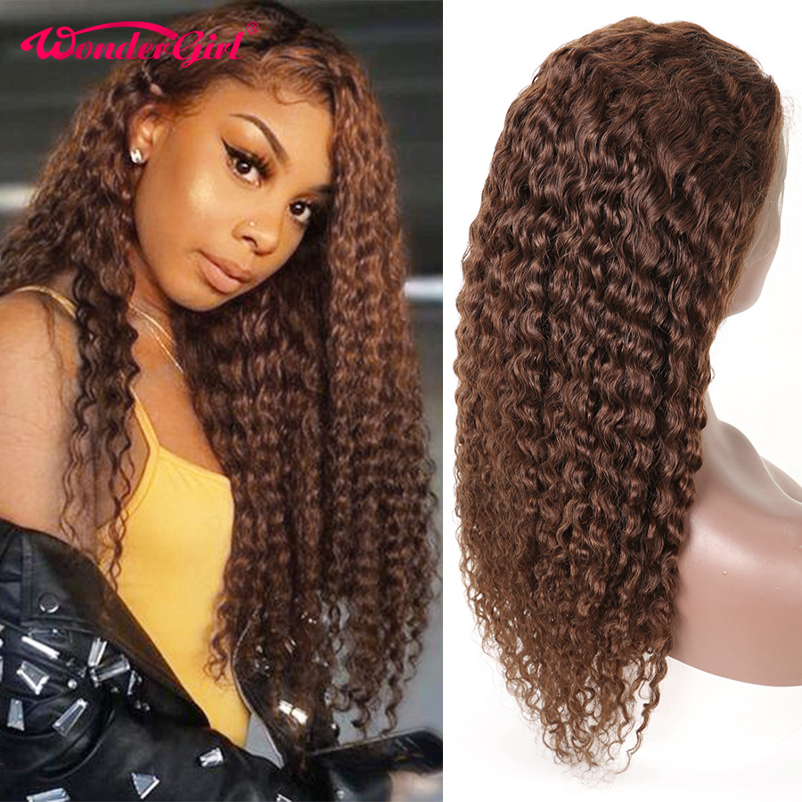 Wonder girl 13x4 Water Wave Wig #2 #4 #1B Pre Plucked Lace Frontal Wig Curly Lace Front Human Hair Wigs Remy Brazilian Hair
