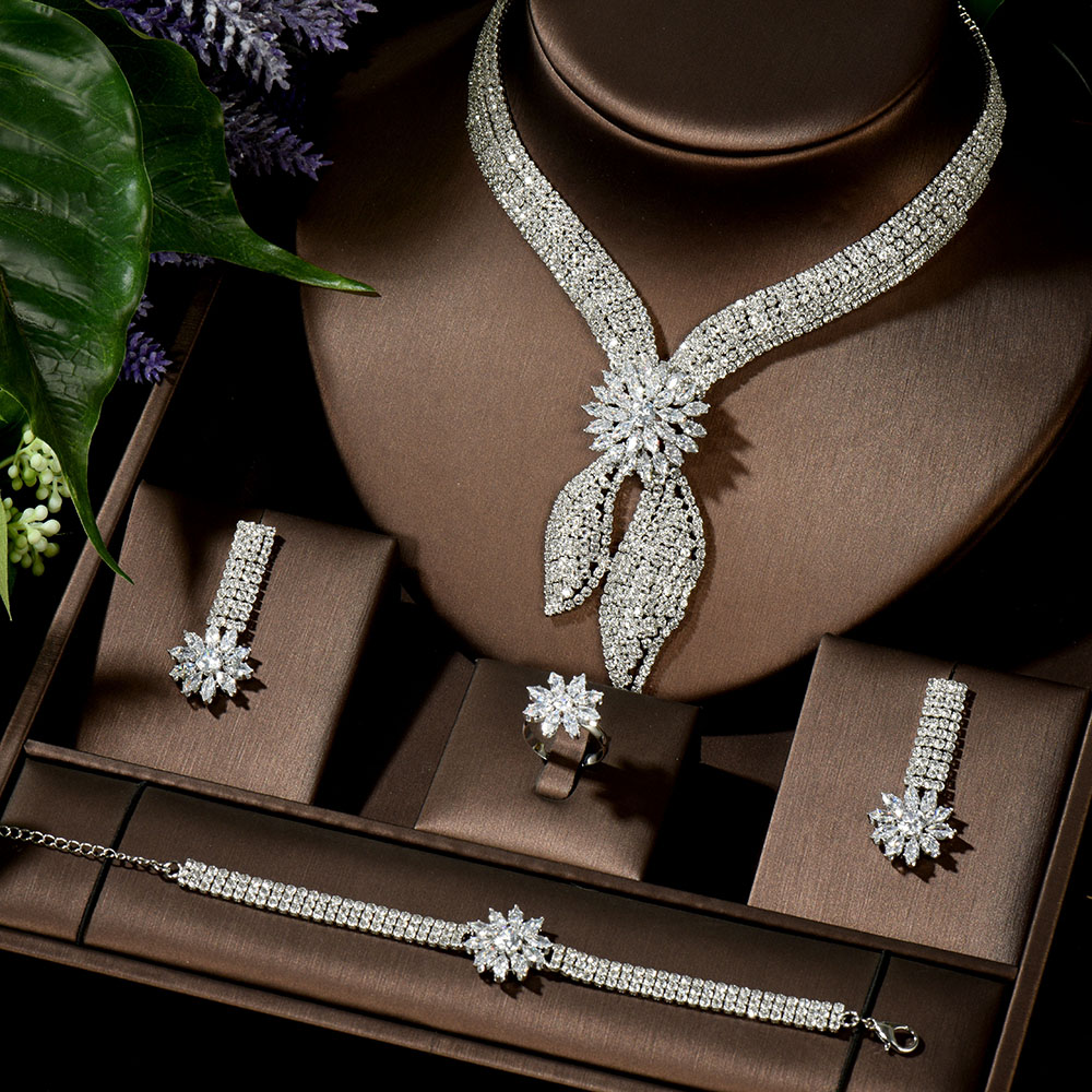HIBRIDE Luxury Big 4pcs Jewelry Set With Cubic Zirconia for Women Bridal Party Wedding Accessories Saudi Arabic Dubai N-1433
