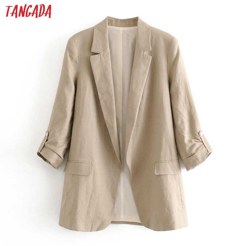 Tangada 2020 Women Solid Cotton Linen Blazer Female Long Sleeve Elegant Jacket Ladies Office Spring Formal Suits 6A133