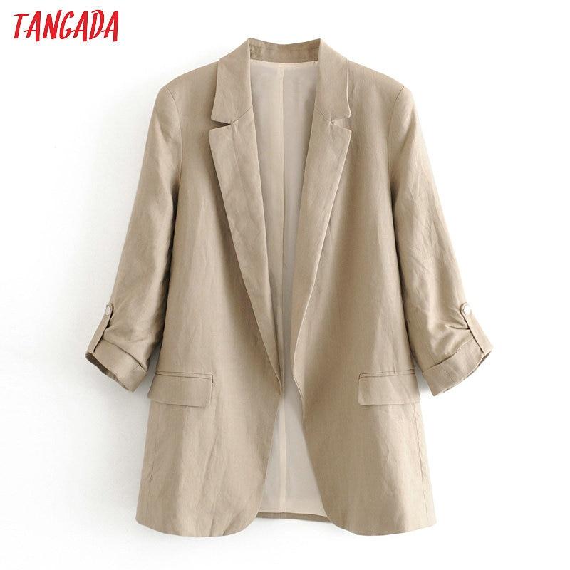 Tangada 2020 Women Solid Cotton Linen Blazer Female Long Sleeve Elegant Jacket Ladies Office Spring Formal Suits 6A133