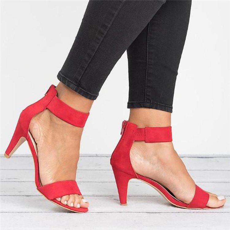 Women PU Leather 5 CM High Heel Shoes Summer Open Toe High Heel Sandals Bohemian Sandals