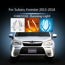 Car 2PCS For Subaru Forester 2013 2014 2015 2016 2017 2018 Car LED DRL Daytime Running Lights Daylight Turn Signal lamp wholesale abs daytime running lamp auto car drl front lamp for subaru forester fit for forester 2013