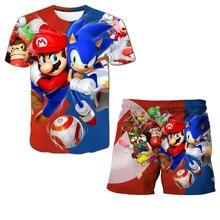 Super Mario bro T shirt Kids 3D Print T shirt and Short 2pcs Children's Set Boys T shirt Girls Teens Summer Tops Children's Suit