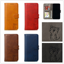 цена на Case for OnePlus 7 One Plus 7Pro Pro Lucky Happy Cat Cover Book Cute Cartoon Coque Flip Leather Holder Stand Pussy Puss 1+7 Case