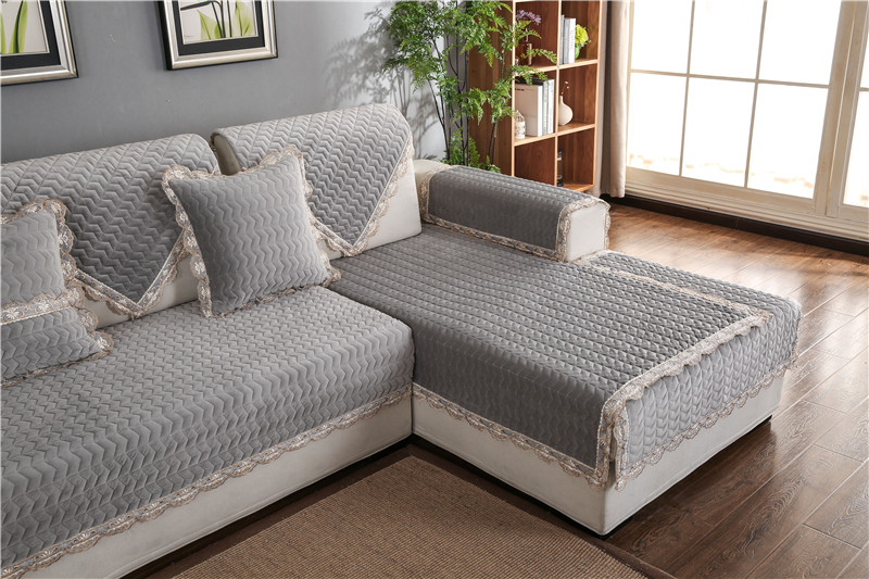 Thick Slip Resistant Couch Cover for Corner Sofa Made with Plush Fabric Including Lace for Living Room Decor 56