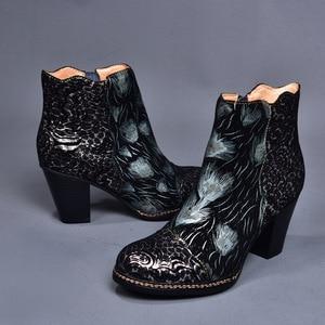 Image 5 - Johnature גבוהה העקב מגפי עור אמיתי 2020 חדש סתיו נשים נעלי Zip עגול הבוהן כיכר העקב פרחוני טוטם קרסול מגפיים