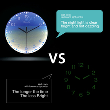 Luminous Wall Clock 12 Inch Silent Night Lights LED Glowing Decorative Clocks Modern Design Living Room Bedroom Nordic Decor