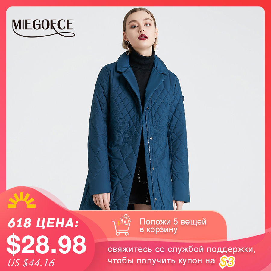 MIEGOFCE 2020 Spring Women Parka Coat Warm Jacket Women Thin Cotton Quilted Coat With Standing Collar New Collection Of Designer|quilted coat|women's parkcoat warm - AliExpress