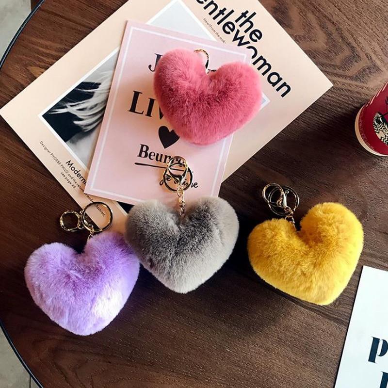 2021 Cute Keychain llaveros mujer Fake Rabbit Fur Heart Pompom Key Chain Women Girl Bag Cars Simple Fluffy Keyring Jewelry Gifts