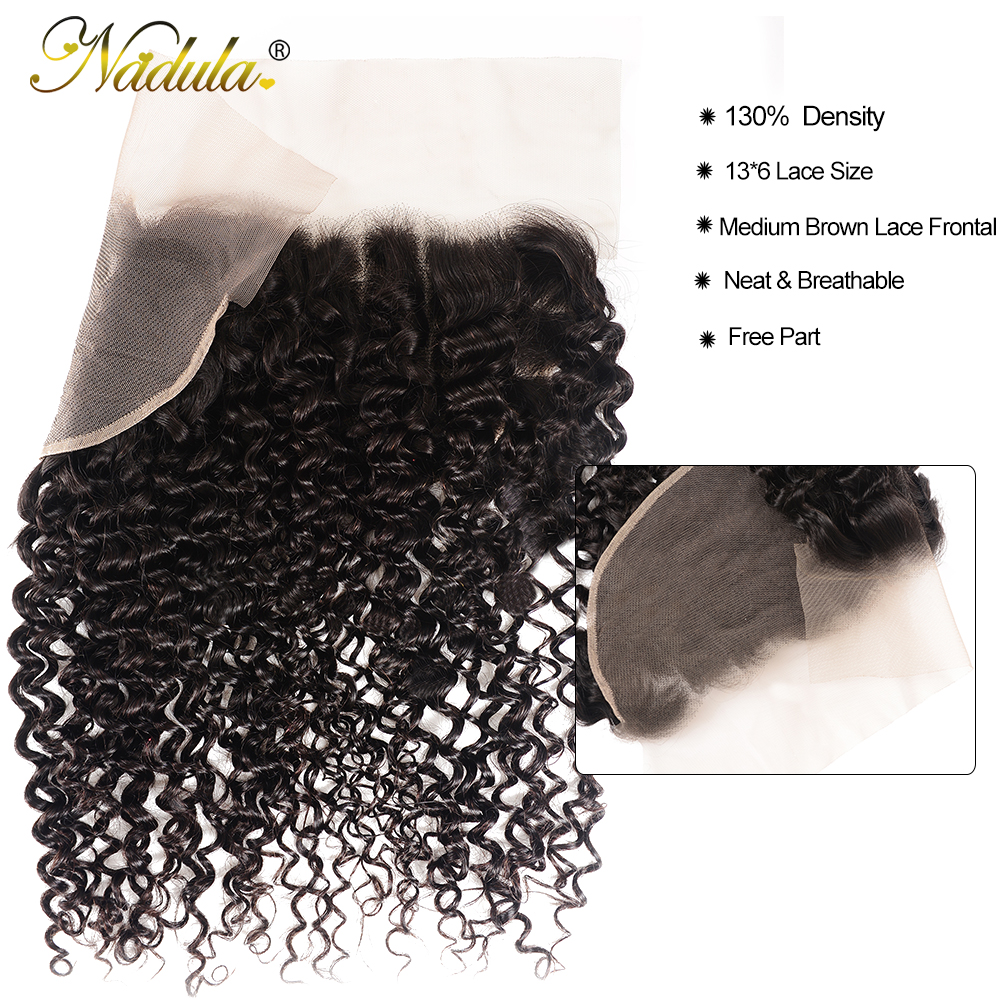 Nadula Hair  Curly Bundles With Frontal Closure 100%  Frontal 13*6 Ear to Ear Lace Frontal With Bundles 4