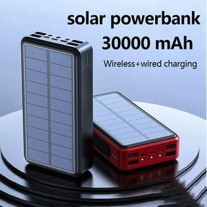Image 2 - بنك طاقة لاسلكي 4 USB 30000 mAh شاحن بطارية محمول يعمل بالطاقة الشمسية بطارية محمولة خارجية حزمة شاحن ل Xiao mi mi 3 آيفون PoverBank